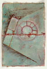 Monika Kaeser, Cimiez, 2004, 23 x 15 cm, Abformung selbstgeschöpftes Papier/ Gouache und Aquarell