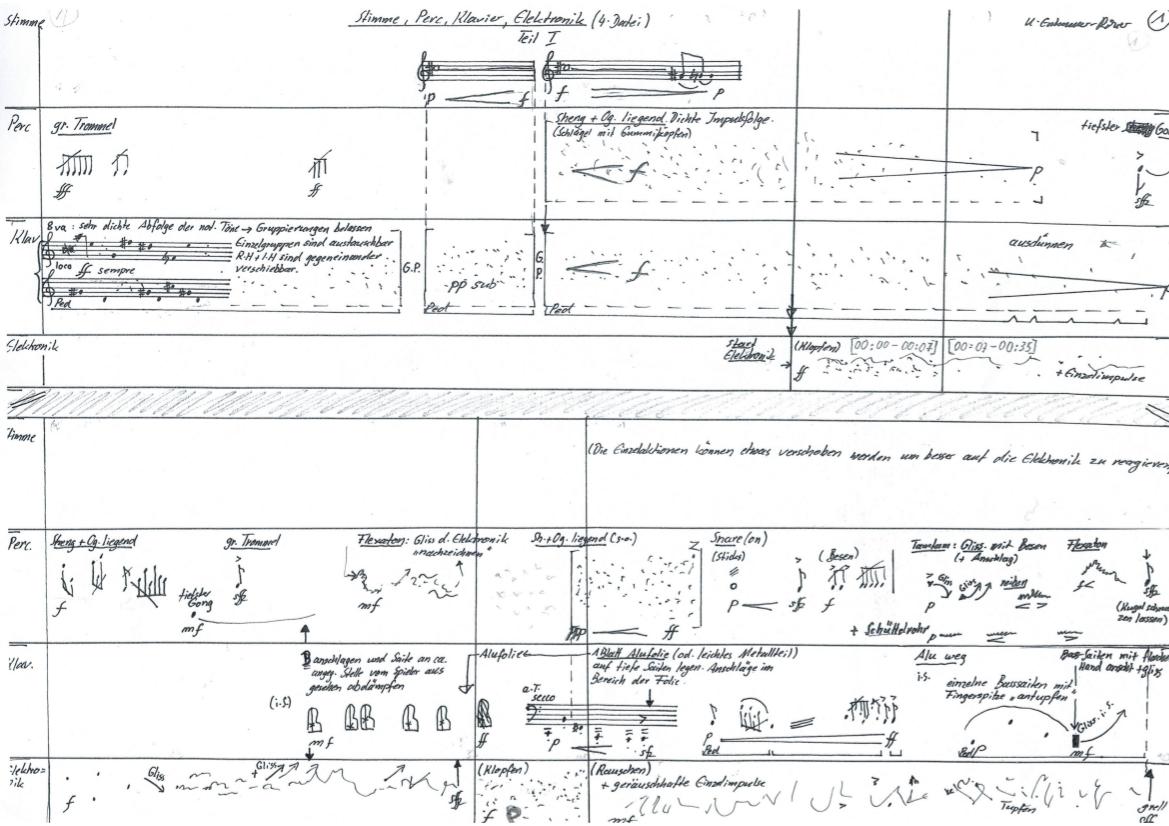 Ursula Euteneuer-Rohrer, Variationen II für Stimme, Klavier, Schlagwerk, Elektronik-Zuspiel, S. 1, UA 2019