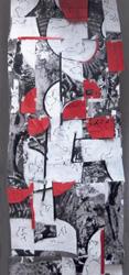 Sylvia Kiefer, Fetzen - Paraphrasen - Gegenkörper, Mischtechnik/Collage, Wandobjekt, 200x80 cm