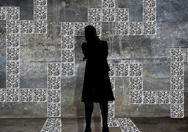 """QR-Code Installation """"Potenziale"""" von Sabine Schäfer, Gloria Keller und Iris Kamlah Entwurf: Gloria Keller"""