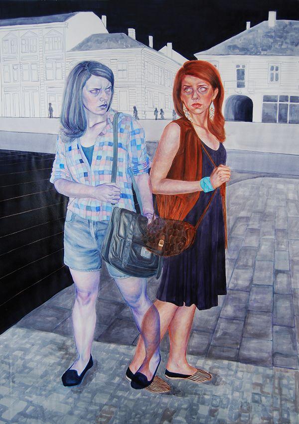Timea Mitroi, Siamese Twins I, 2013, Aquarellstift, Tusche, Pastell auf Papier