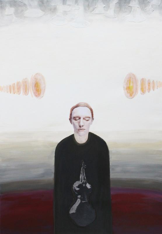 Jutta Hieret, Echo, 2019, Acryl/Collage auf Leinen, 100 x 70 cm