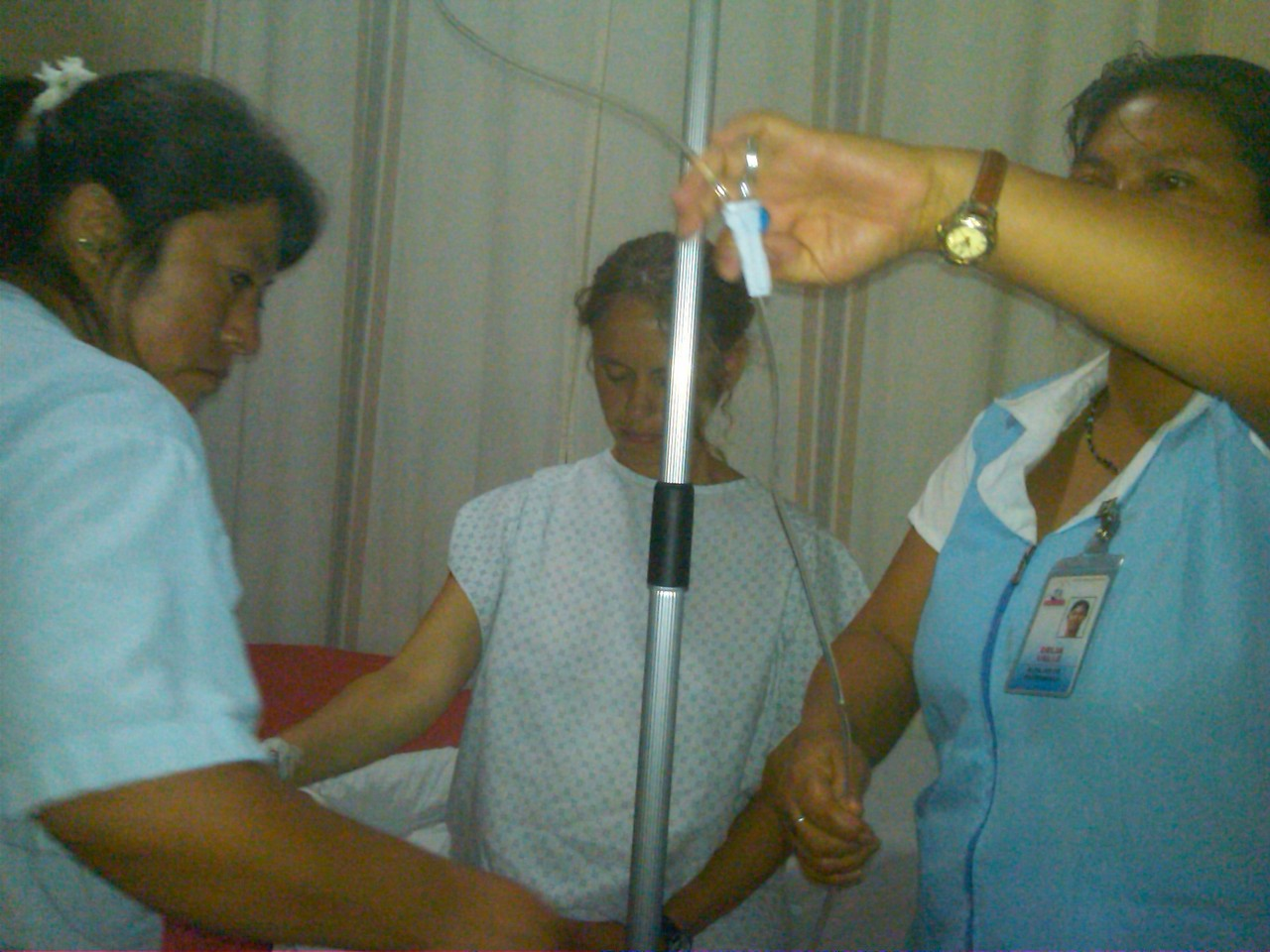 our nurses setting up Kerrie's IV
