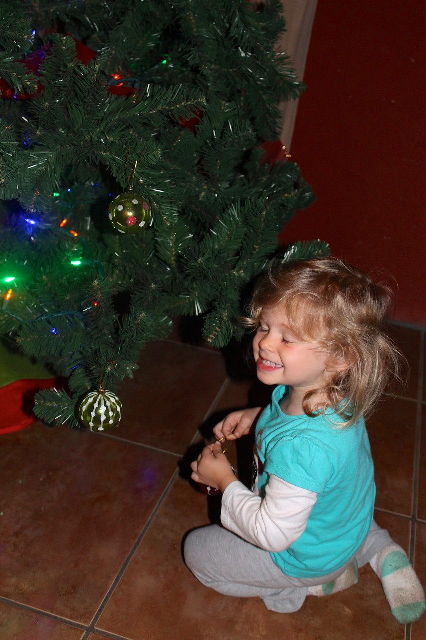 andrea putting ornaments on the tree