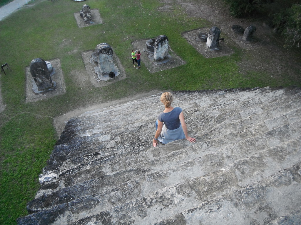 kerrie (afraid of heights) going down the ruins