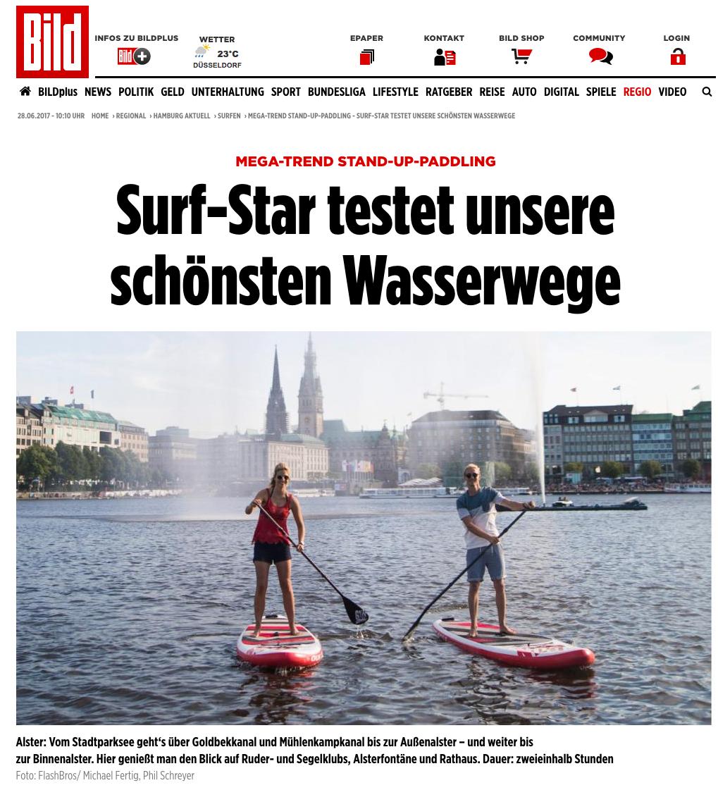 BILD Hamburg, SUP durch Hamburg