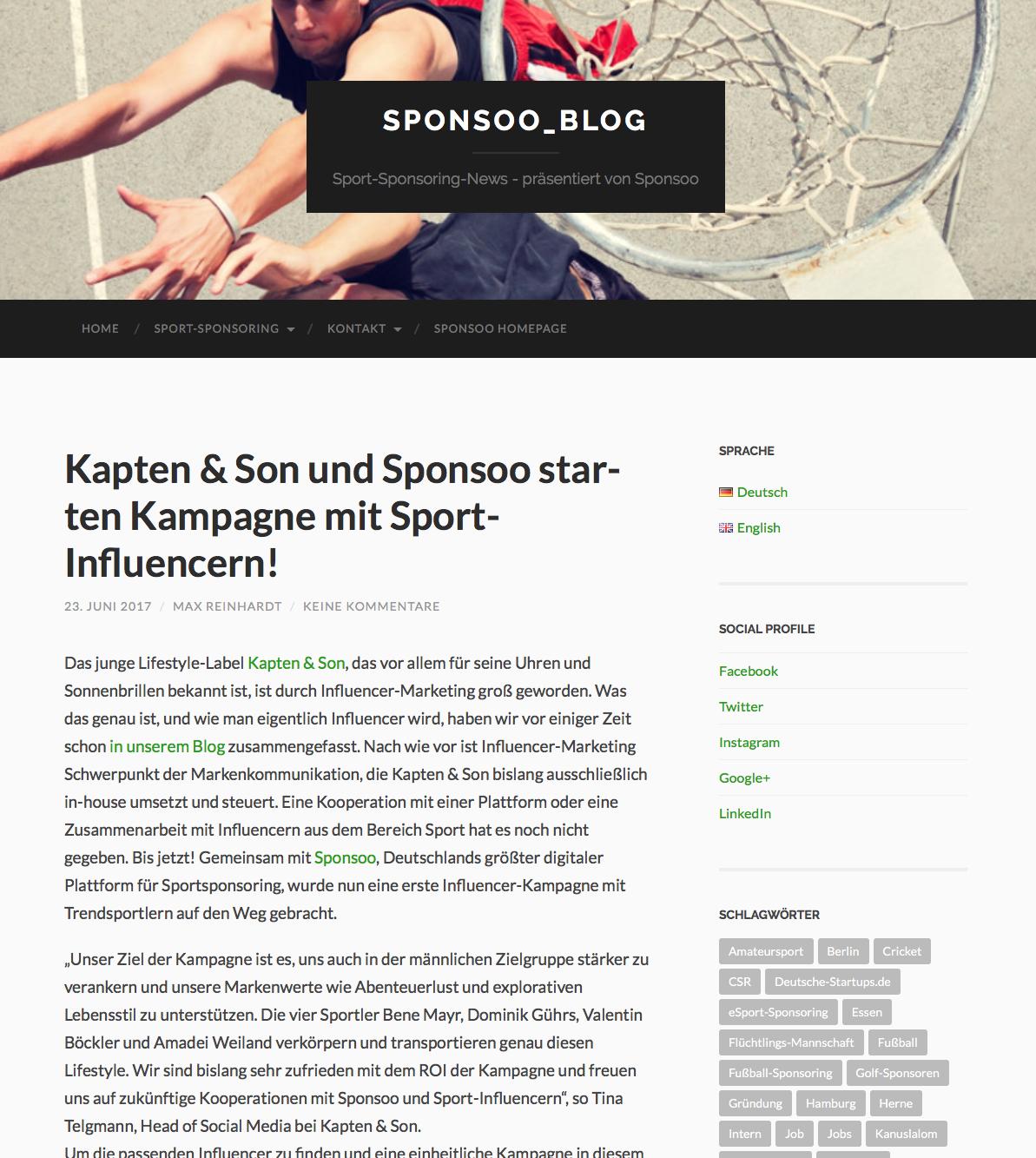 Sponsoo Influencer Kooperation Kapten&Son