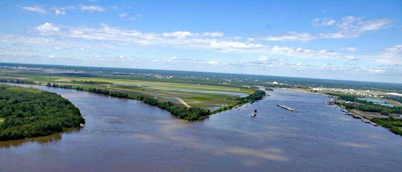 Bild 7 Zusammenfluss von Mississippi und Missouri (Confluens)