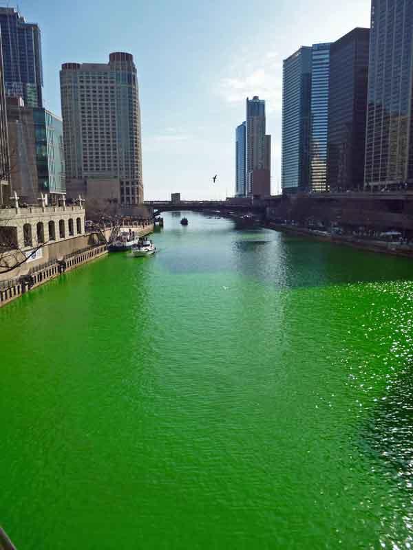 Bild 8 Der Chicago River wird grün gefärbt am St. Patricks day