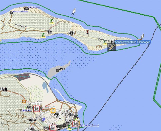 """Bild 1 Sandsammelstelle vom """"Ellenbogen"""" auf Sylt - Kartenquelle: © OpenStreetMap-Mitwirkende"""
