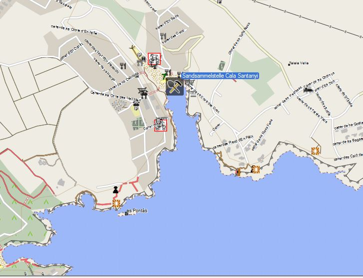 Bild 1 Sandsammelstelle Mallorca Cala Santanyi - Kartenquelle: © OpenStreetMap-Mitwirkende