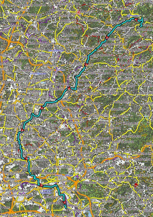 Streckenverlauf Hoherodskopf nach Hainburg erstellt mit Garmin BaseCamp - Kartenquelle: © OpenStreetMap-Mitwirkende