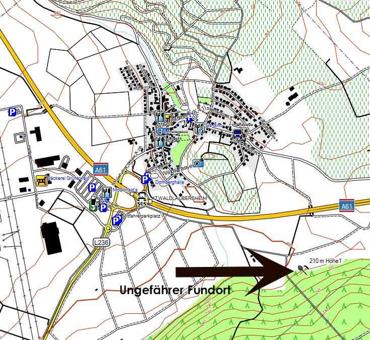 Bild 1 Foraminiferen Fundort Waldlaubersheim - Kartenquelle: © OpenStreetMap-Mitwirkende