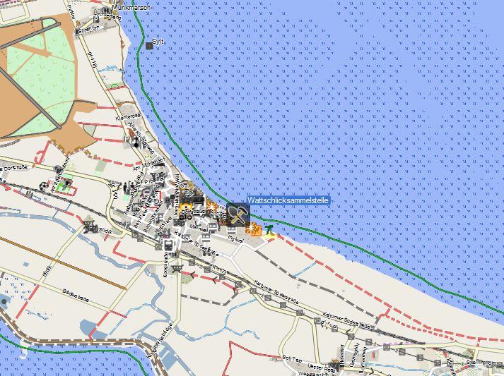 Bild 1 Aufsammelstelle für Wattschlick - Kartenquelle: © OpenStreetMap-Mitwirkende
