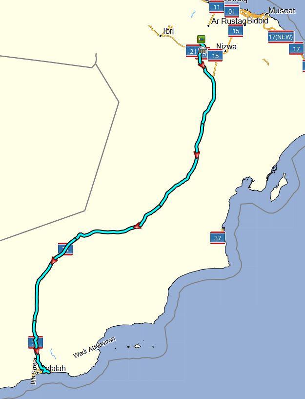 Oman Urlaub 2017; Fahrtstrecke heute ca. 950 km
