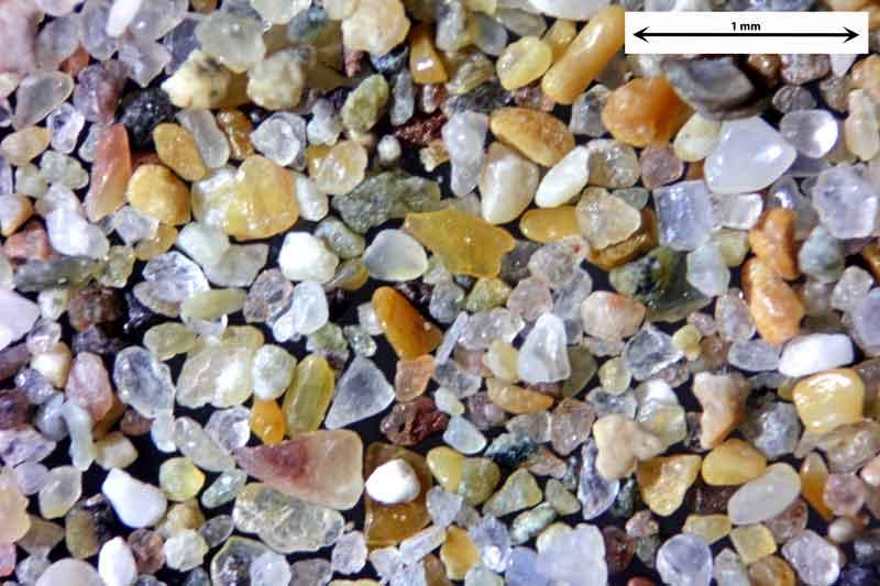Bild 1 Sand aus Agadir/Marokko vom Strand der Atlantikküste, Objektiv Zeiss Plan 2,5/o,o8 Auflicht