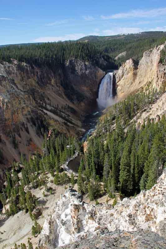 """Bild 15 Yellowstone, am Yellowstone """"Grand Canyon"""", Blick auf Wasserfall"""
