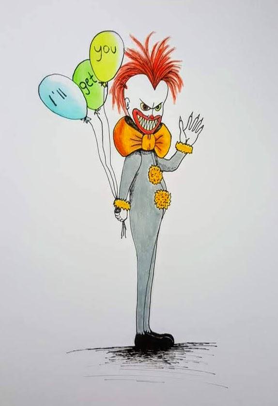 """Clown """"ES"""", Tusche-Stift & Farbstift auf Papier, 29.5x21cm - CHF 150.- (ohne Einrahmung)"""