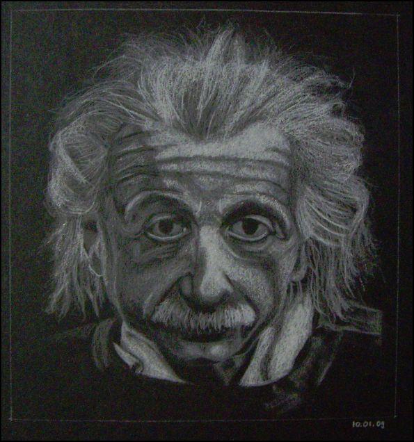Albert Einstein, abgemalt von Vorlage, weisser Farbstift auf schwarzem Papier, 19.5x20.5cm - CHF 100.- (ohne Einrahmung)