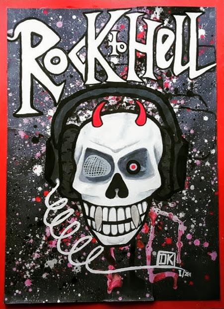 Rock to Hell, Gouache auf Papier befestigt auf Karton, 70x50cm - nicht verkäuflich