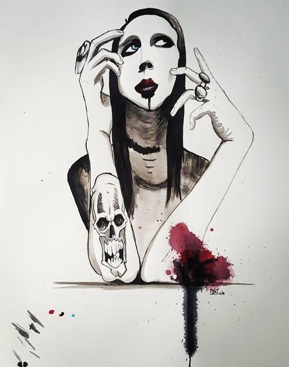 Marilyn Manson, abgemalt von Vorlage, Tusche & Aquarellfarbe auf Papier, 70x50cm - unverkäuflich