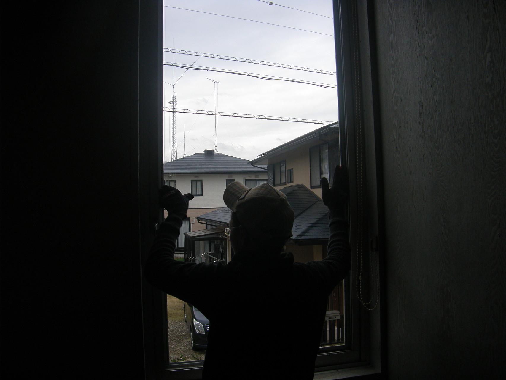 事務所窓ガラス修理:工程写真