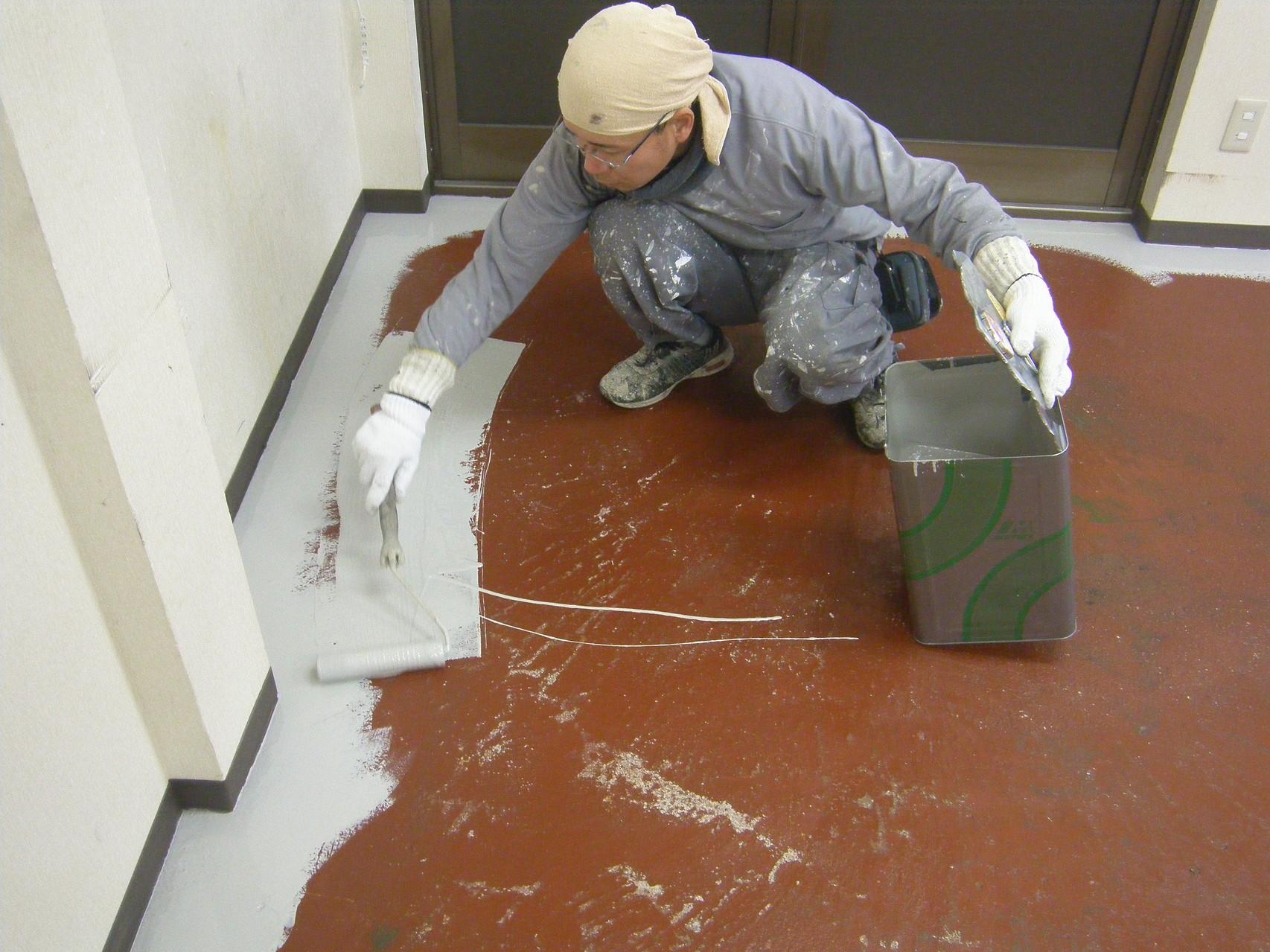 工場内塗床改修工事:工程写真