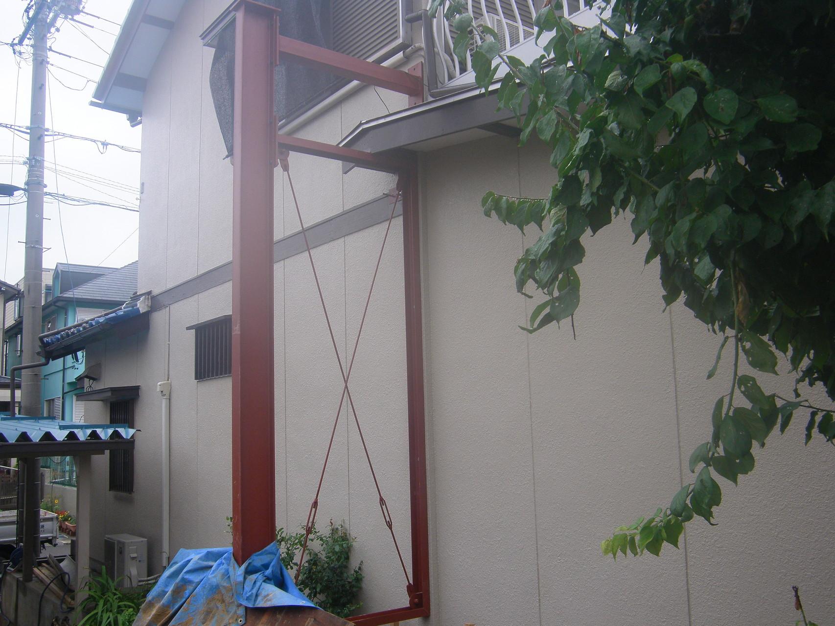 木造建物外部耐震補強:工程写真