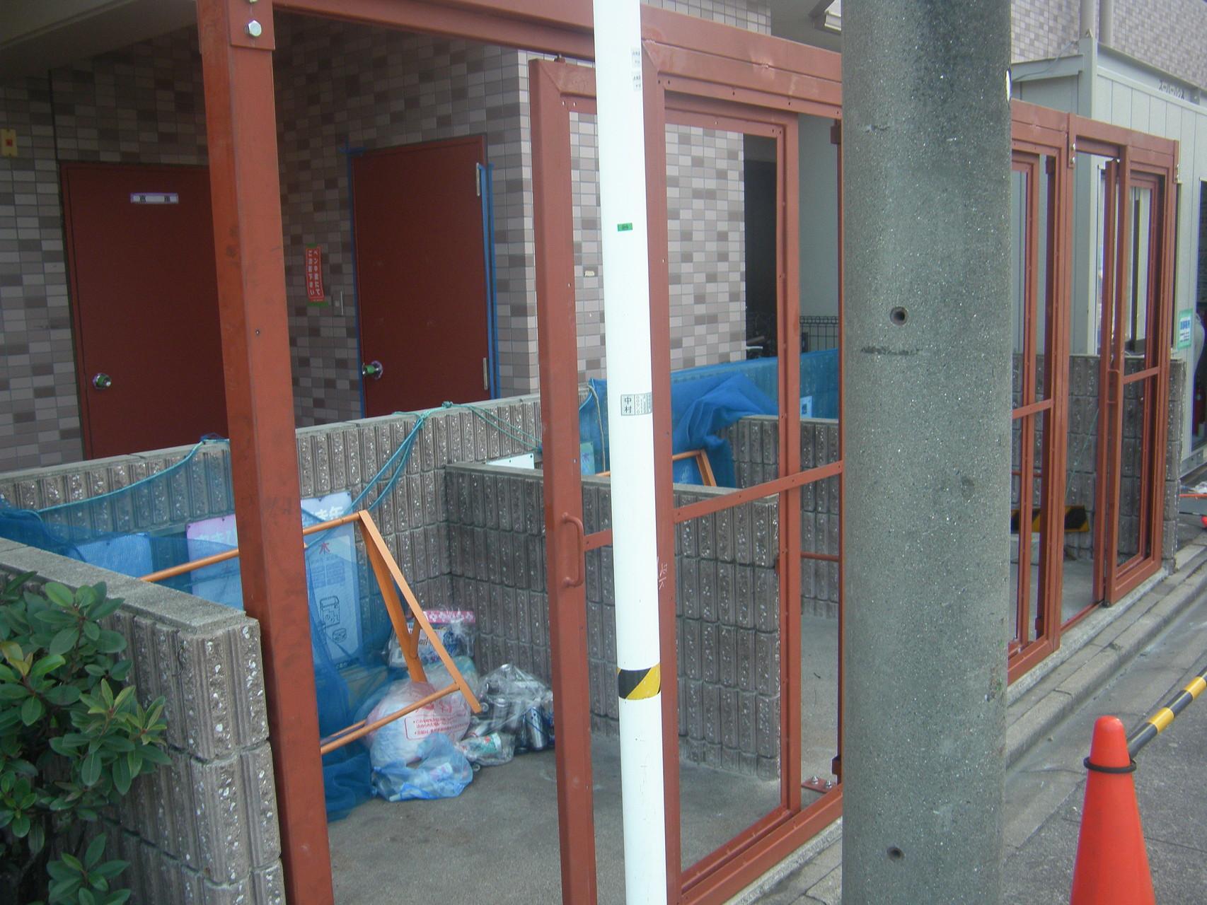 ゴミ庫鳥害防止工事:工程写真