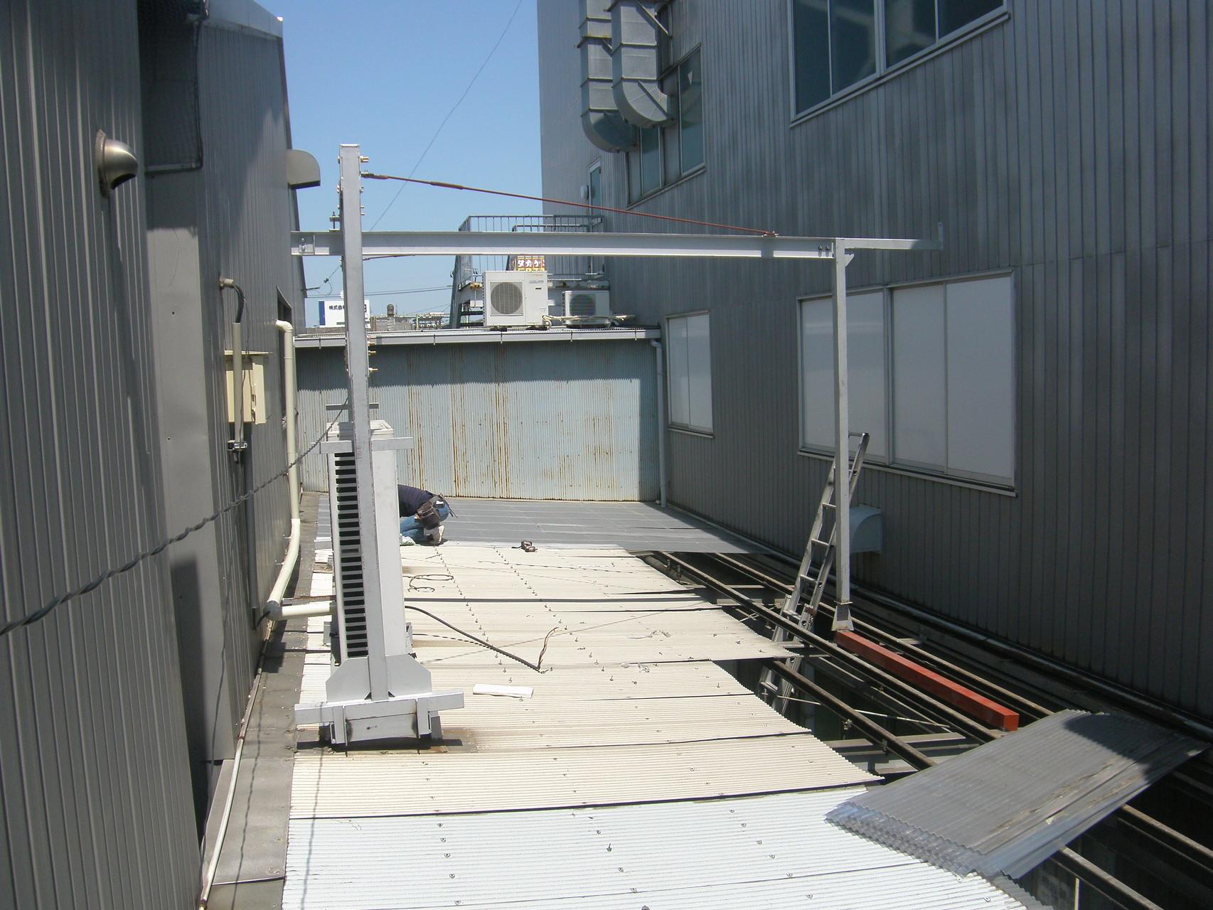 室外機据付用レール架台:工程写真
