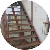 階段・通路の鉄骨補強