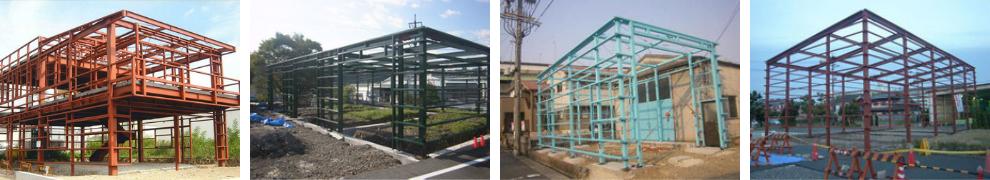 建築物の鉄骨工事写真