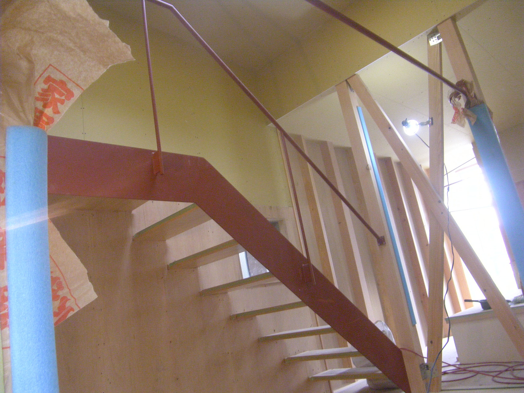 室内スチール階段手摺:工程写真
