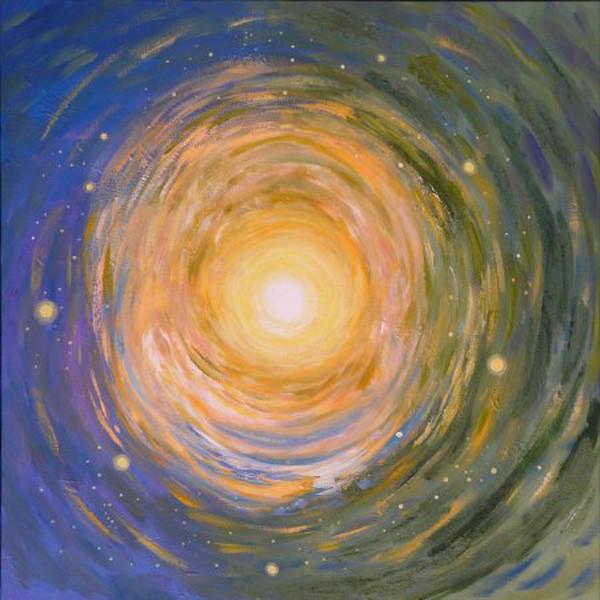 Mandala cosmique acrylique sur toile 80x80cm