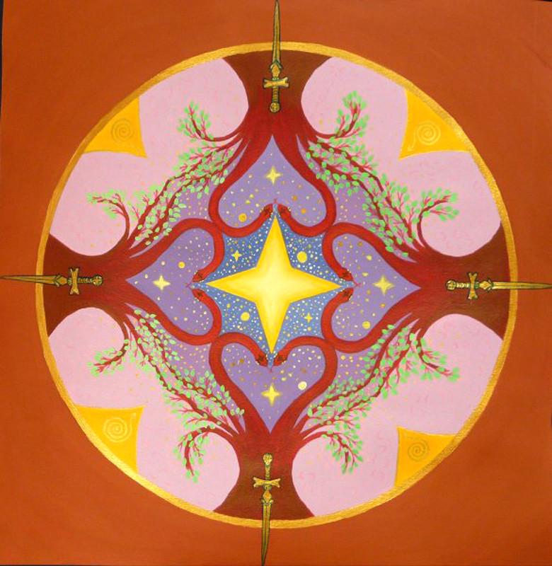 Mandala épées acrylique, pigments sur canson 50x50cm