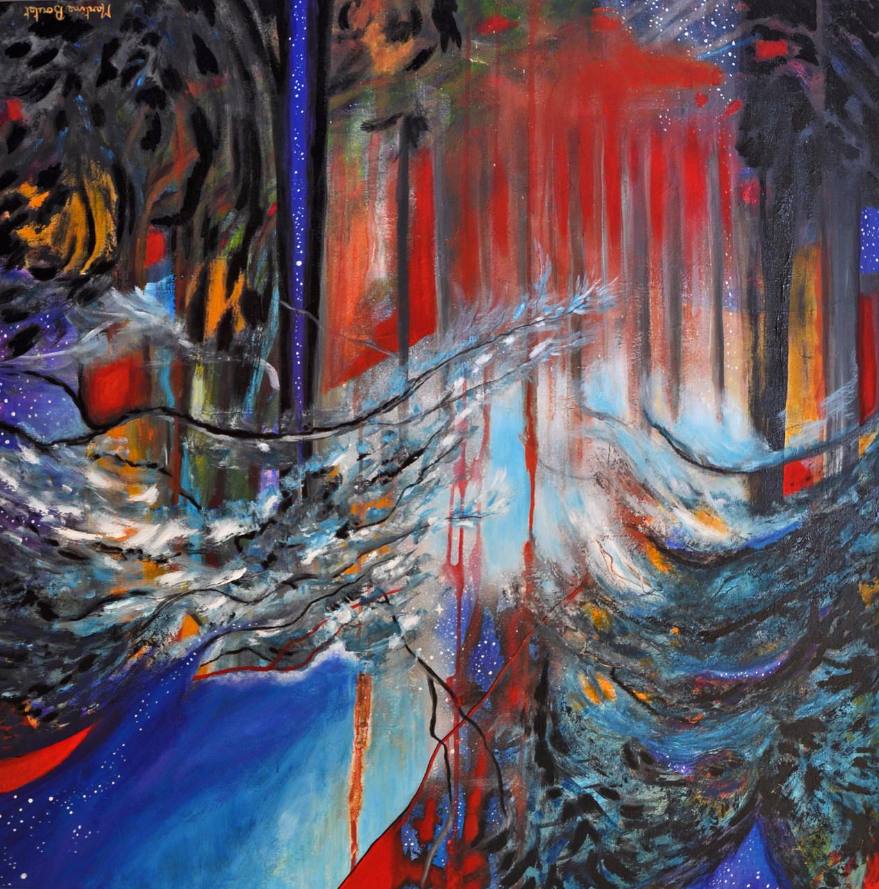 < L'âme des arbres 2 > acrylique, pigments 100x100cm