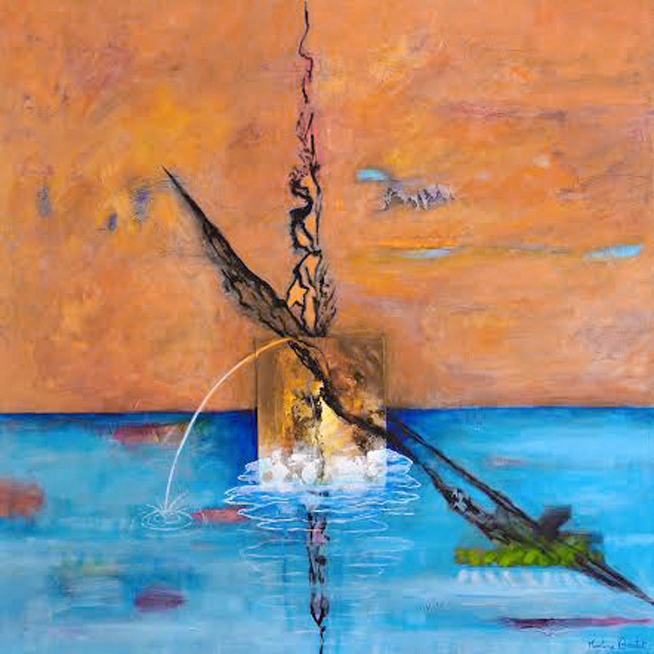 < La porte d'eau > acrylique, pigments sur toile 100x100cm