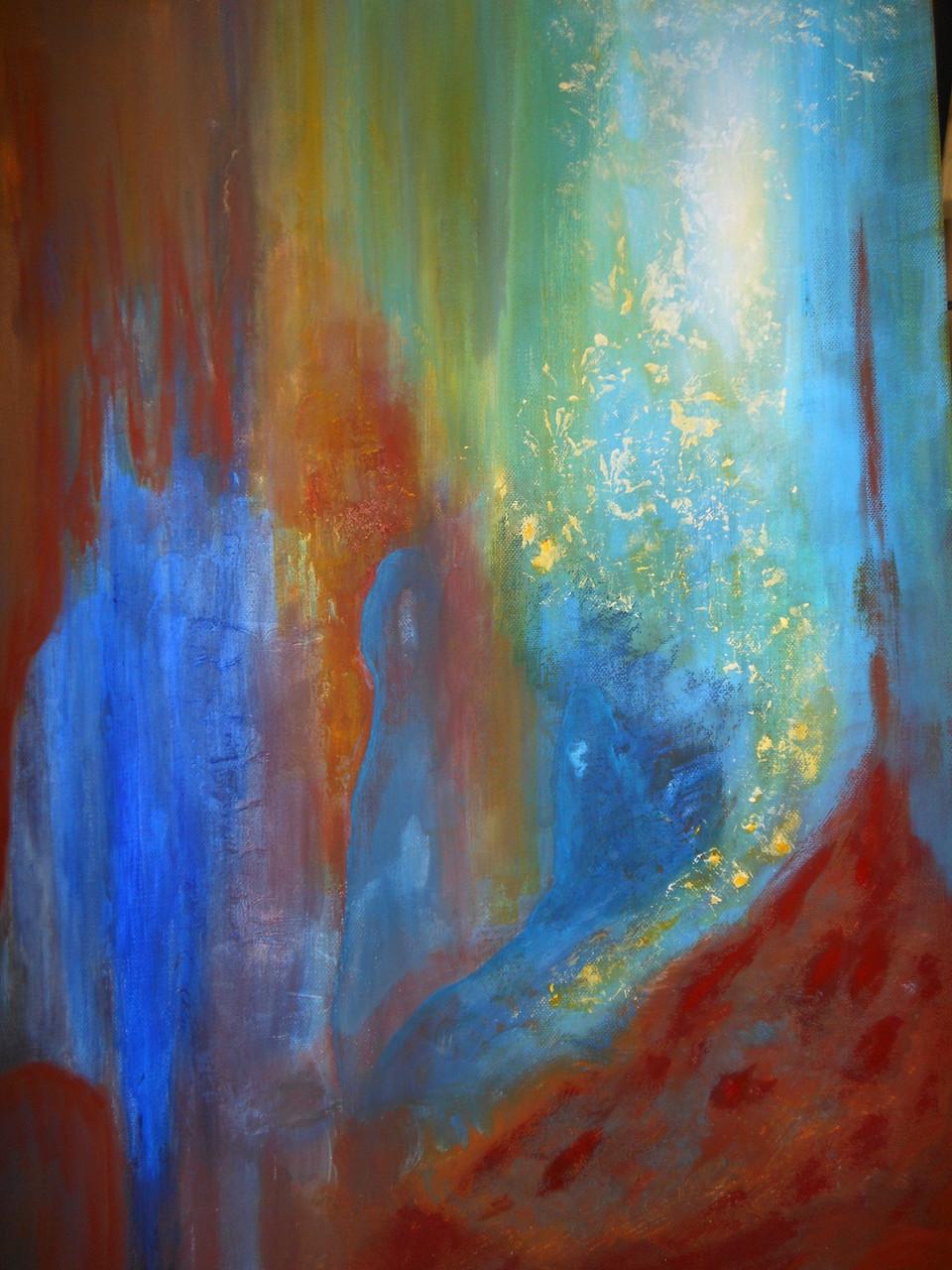 """""""Présences bleutées"""" acrylique, pigments 50x65cm"""