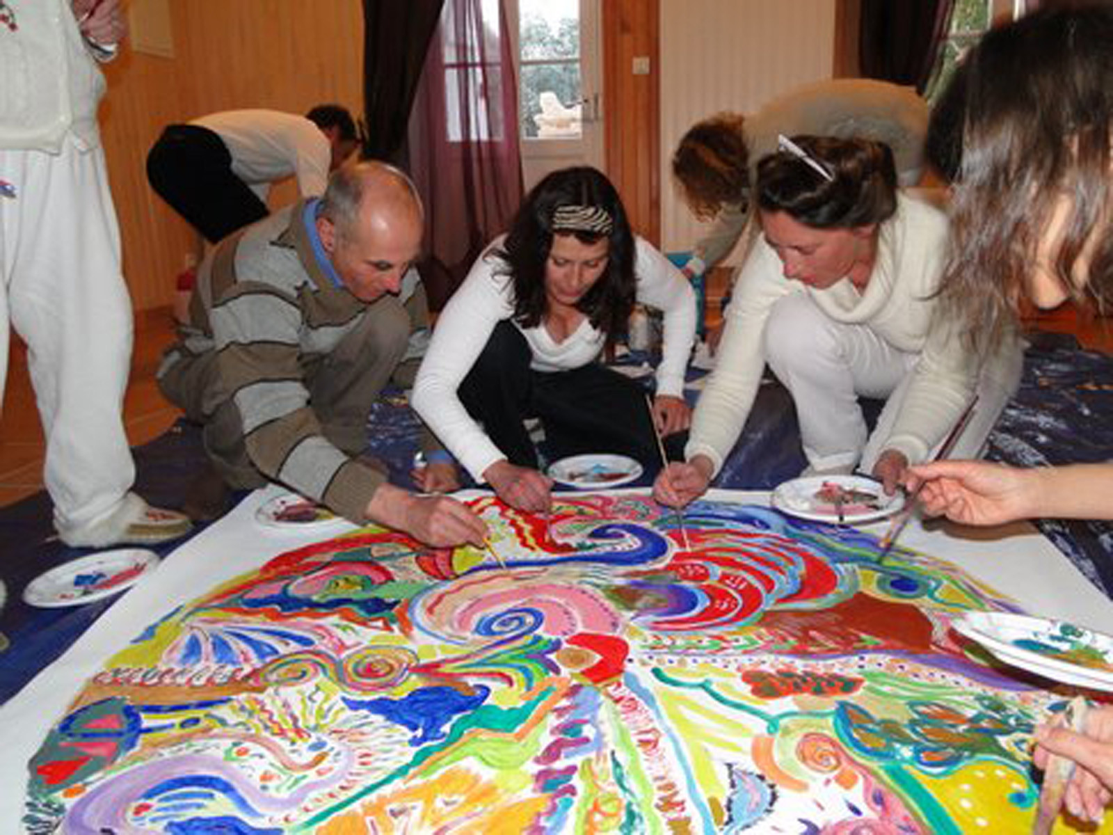 Mandala collectif qui termine un stage