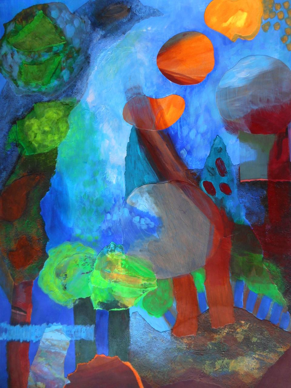 peinture avec collages peints sur canson 300grs 50x65cm