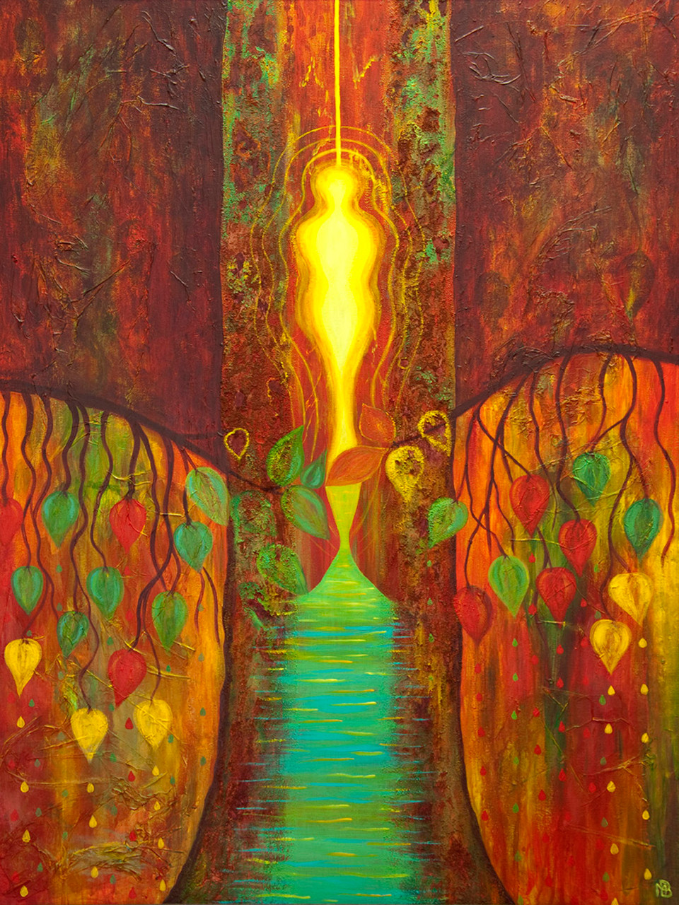 < Esprit de l'arbre > acrylique et pigments sur toile 120x80cm