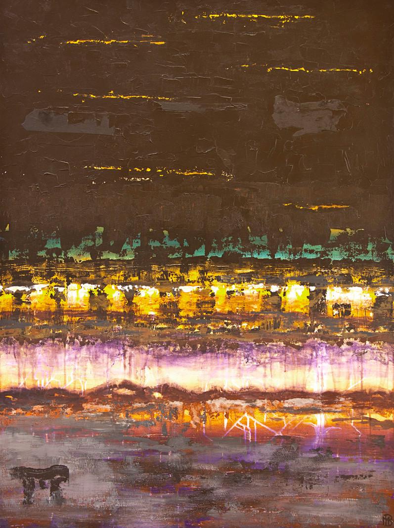 < Le passage > acrylique, pigments, encres sur toile 140x100cm
