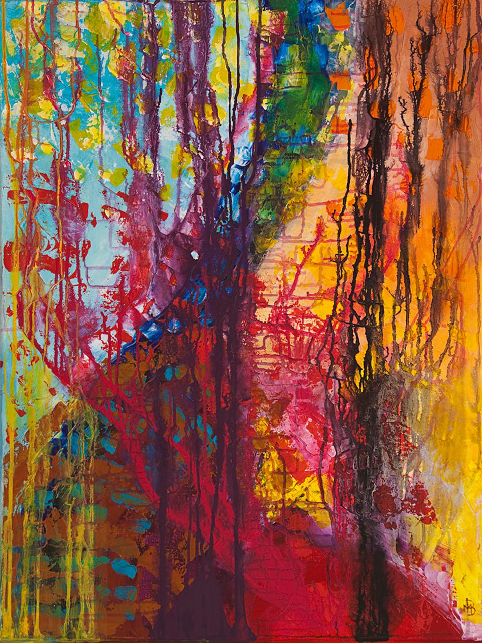 < Esprit du feu > acrylique sur toile 90x70cm