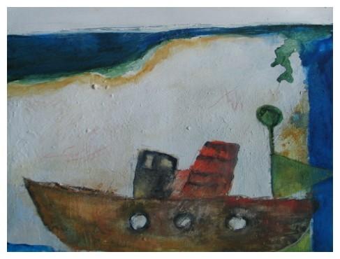 Erinnerung. Rund Skagen 1960  Mischtechnik  40x50 cm