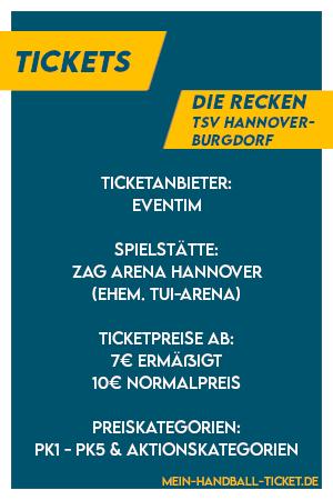 Wichtigste Infos zu den Recken Tickets bzw. Tickets TSV Hannover-Burgdorf
