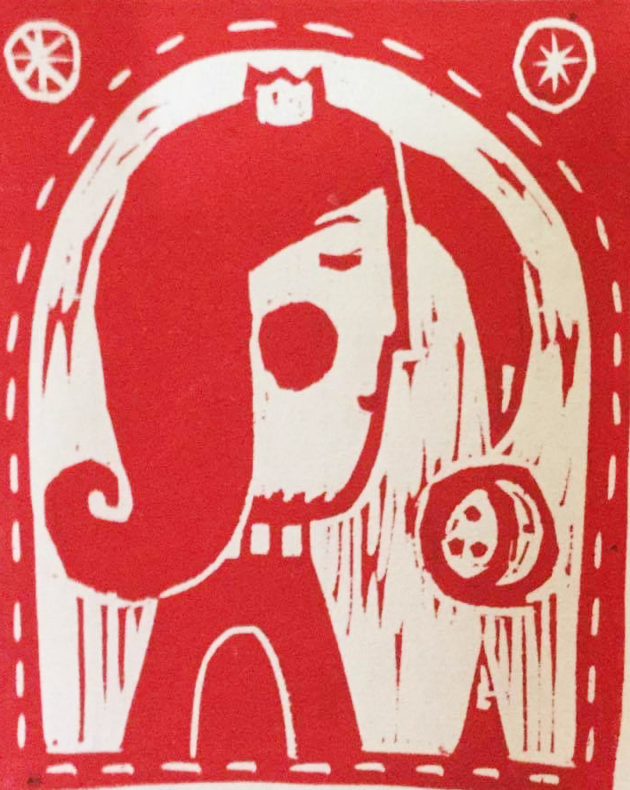 ないしょ 木版画   ¥5,500(シート) 14cm×12cm