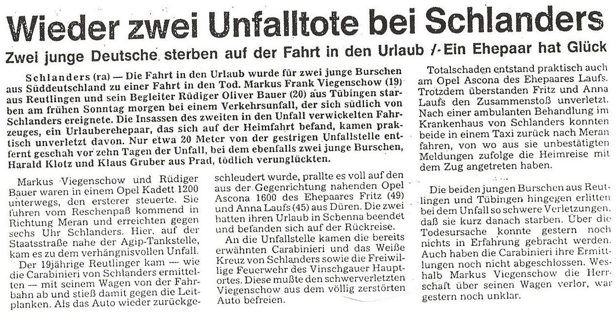 Unfall Serie 1986