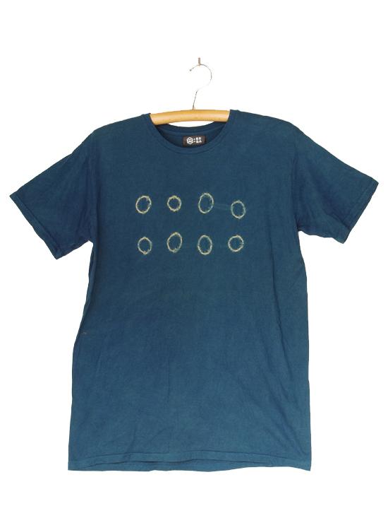 熊野番茶染め Tシャツ(御浜小石絞り・銅媒染×藍染)