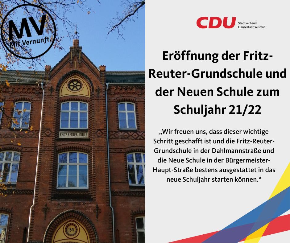 (Neu)Eröffnung der Fritz-Reuter-Grundschule und der Neuen Schule zum Schuljahr 21/22