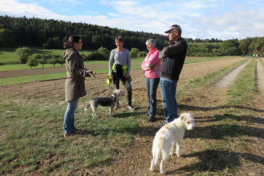 Sonja Meier gibt in Kleingruppen Tipps und Anregungen für die Hundebeziehung